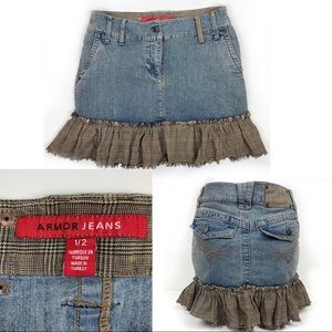 ARMOR Country Chic Jean Skirt RawEdge Plaid Ruffle